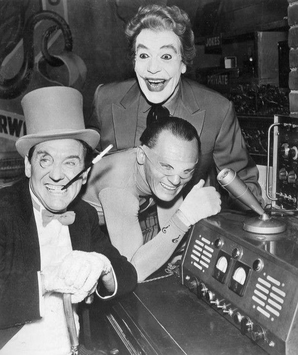 Burgess Meredith (The Penguin) Cesar Romero (The Joker) and Frank Gorshin (The Riddler) -- Batman: The Joker, Batman Villains, The Riddler, Jokers, Cesar Romero, Burgess Meredith
