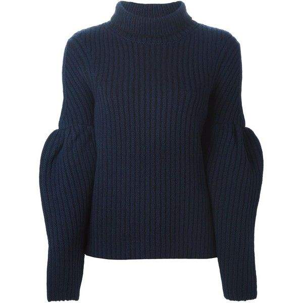 VICTORIA BECKHAM Balloon Sleeve Sweater featuring polyvore, fashion, clothing, tops, sweaters, blue top, victoria beckham, blue sweater, victoria beckham tops and balloon sleeve top