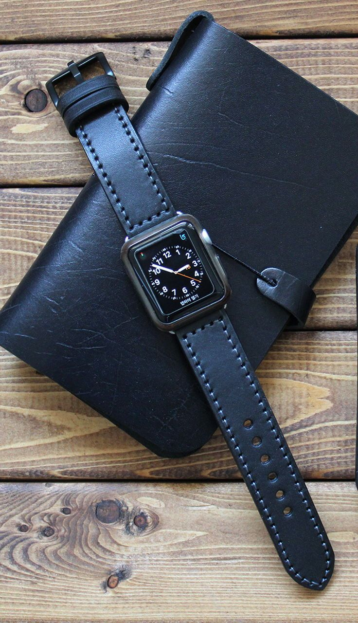 4dbd5be5e English Bridle Full Grain BLACK Leather Apple Watch Band, Apple Watch Strap,  iWatch band