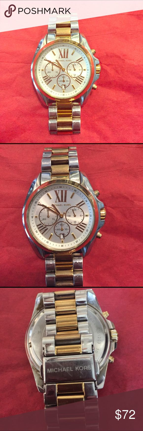 Michale Kors Watch Preowned Michael Kors Watch 44mm. Good condition. Band does have signs of wear. Clasp  is scratched. No scratches on Watch bezel. Gold tone in good shape on bezel. My wrist measures 6.1 this Watch fits me snug. Nothing wrong with the Watch I have 3 gold watches and no longer need. New battery, works fine. Thanks for looking and welcome your offer.  MICHAEL Michael Kors Accessories Watches