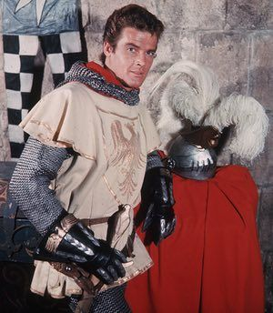 Roger Moore as Sir Wilfred of Ivanhoe in a television remake of Walter Scott's classic novel Ivanhoe, 1958