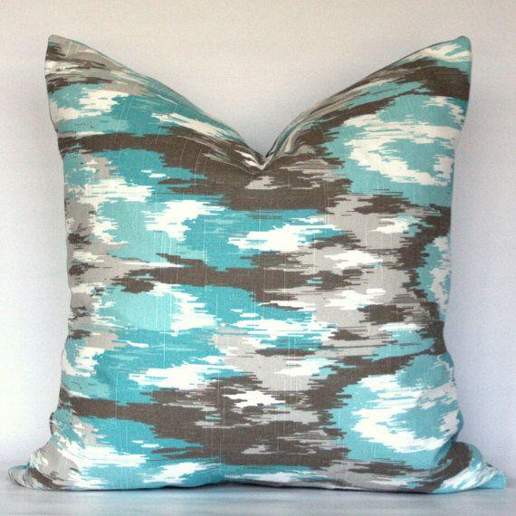 Aqua Brown Decorative Pillows : Ikat - Blue Turquoise Brown Gray Aqua Teal White - Decorative Pillow Cover - CHOOSE YOUR SIZE