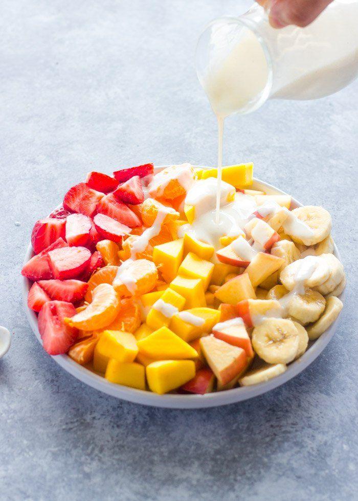 Fruit Salad with Healthy Honey Yogurt Sauce