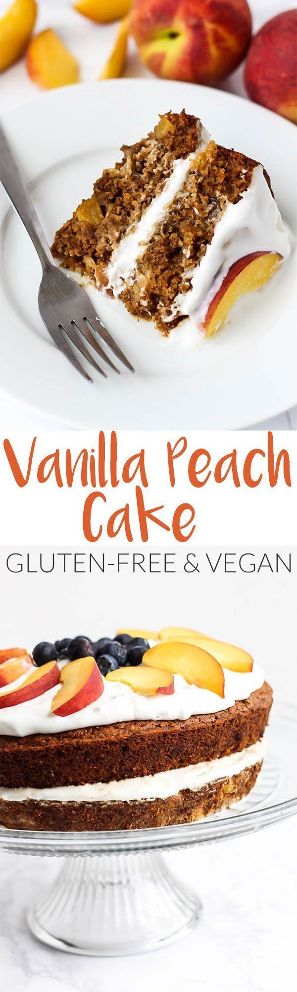 Full of juicy peaches, this Vegan & Gluten-Free Vanilla Peach Cake is a great healthier dessert made with grain-free ingredients you can feel good about. #guiltfree #cake