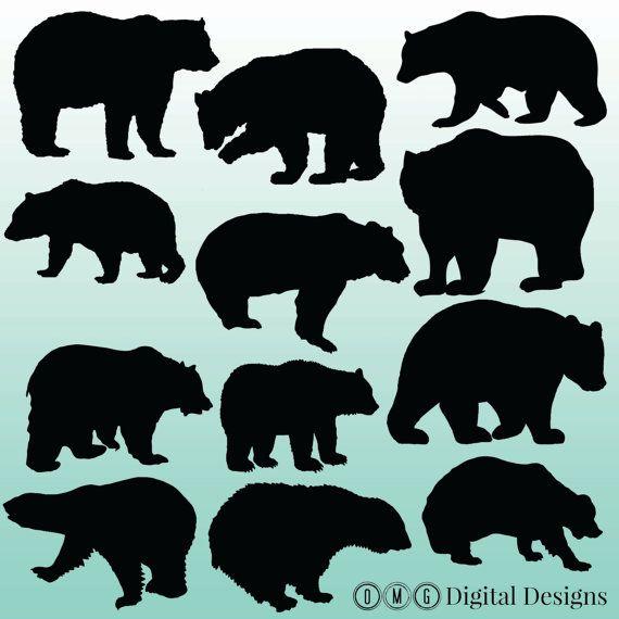 12 Bear Silhouette Digital Clipart Images by OMGDIGITALDESIGNS