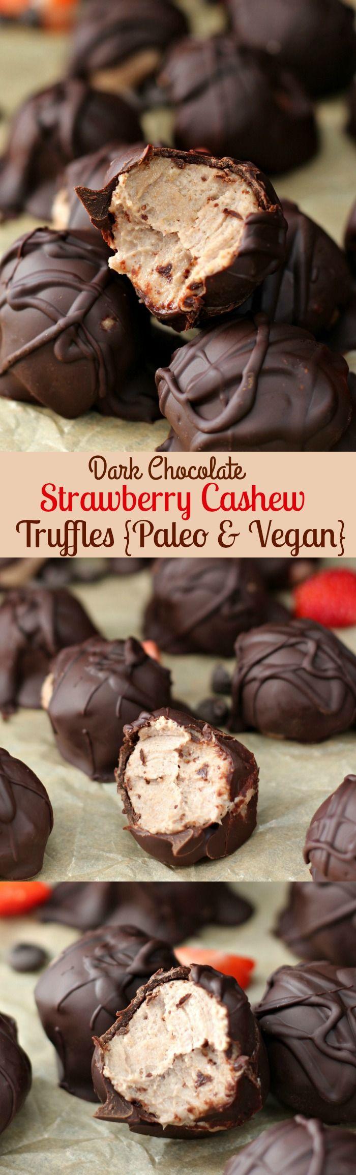 Dark Chocolate Strawberry Cashew Truffles {Paleo & Vegan} no bake, gluten free, healthy and decadent!