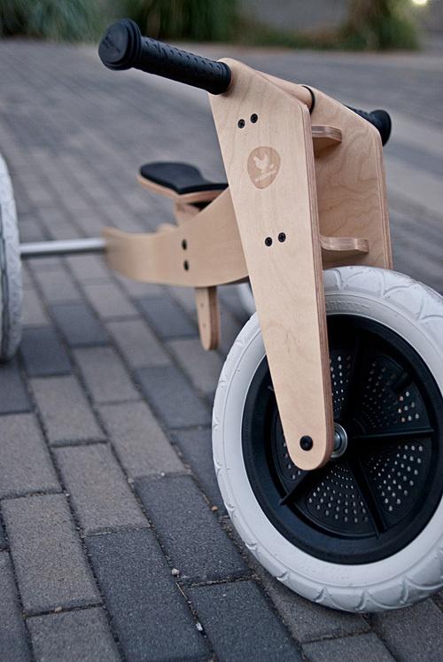 Great photo showing off the beautiful design of the Wishbone Balance Bike.