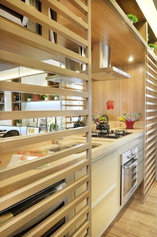 cozinha cozinha integrada divisrias madeira forno