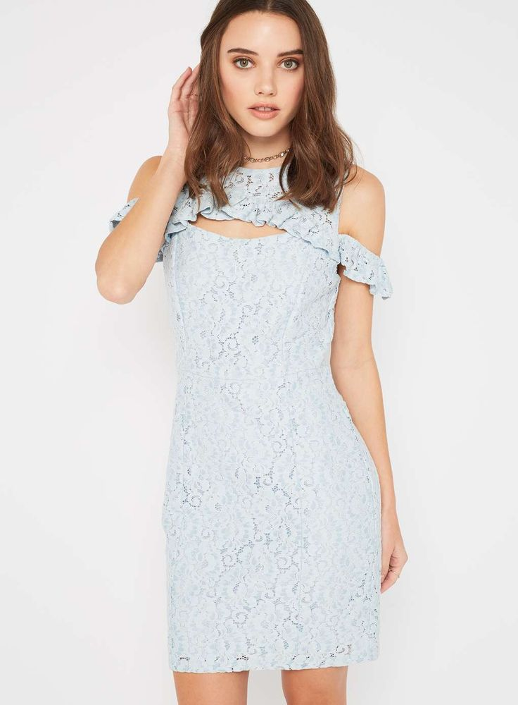 PETITE Blue frill lace dress - Petite Dresses - Dress Shop - Miss Selfridge