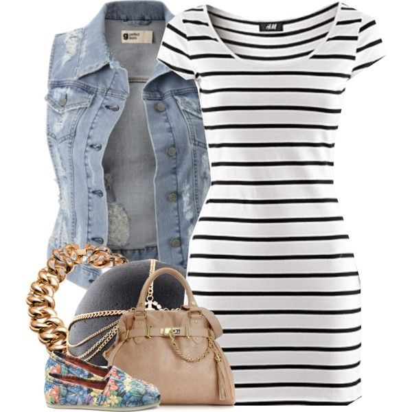 Spring/Summer (striped bodycon, denim vest, patterned flats, gold accessories)