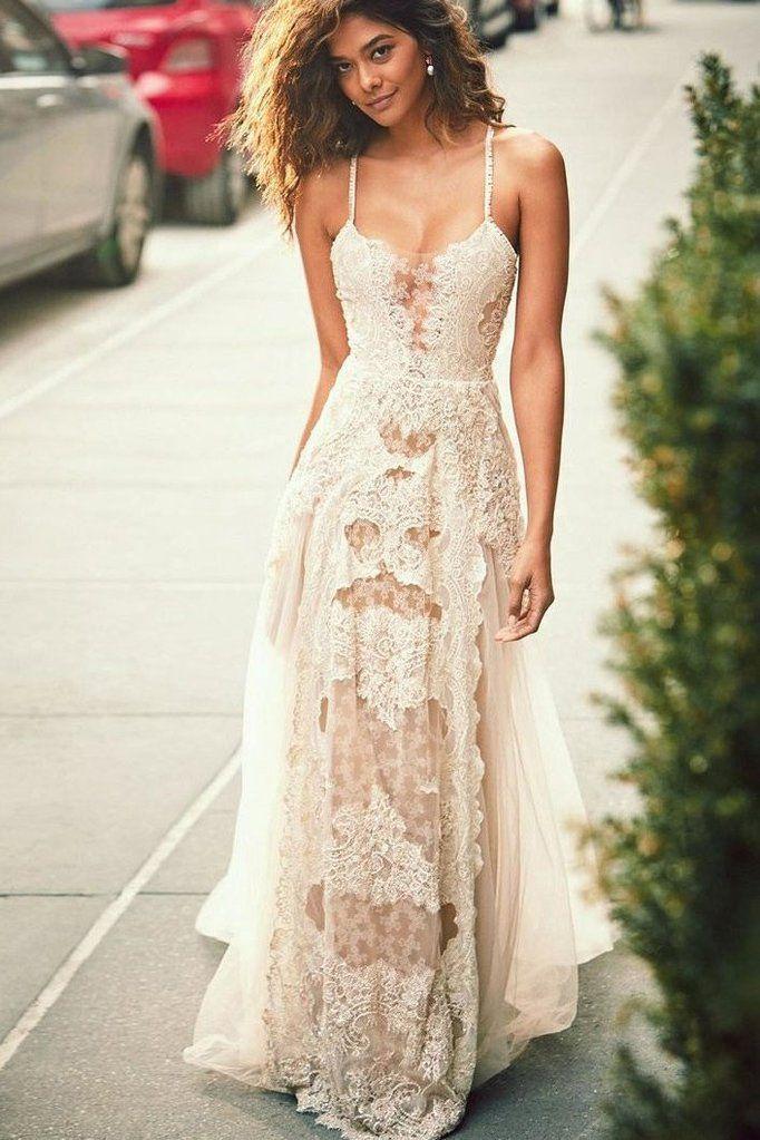 a07add542249 Spaghetti Straps Lace Dropped Sleeves Tulle A Line Beach Wedding Dress  OKH83 – Okdresses  wedding  weddingclthing  bridaldress  weddingdresses   weddingparty ...