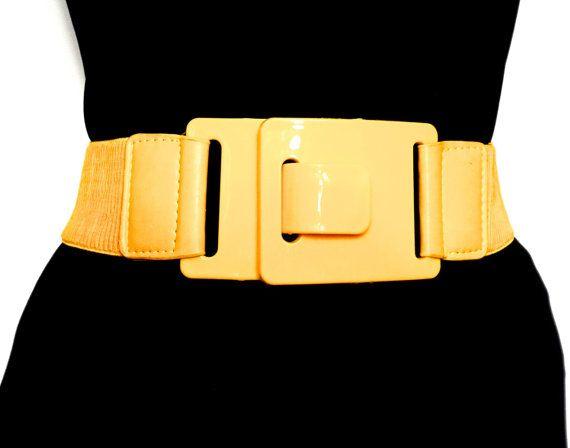 Vintage Stretch BeltBright Yellow by GrannysBottomDrawer on Etsy