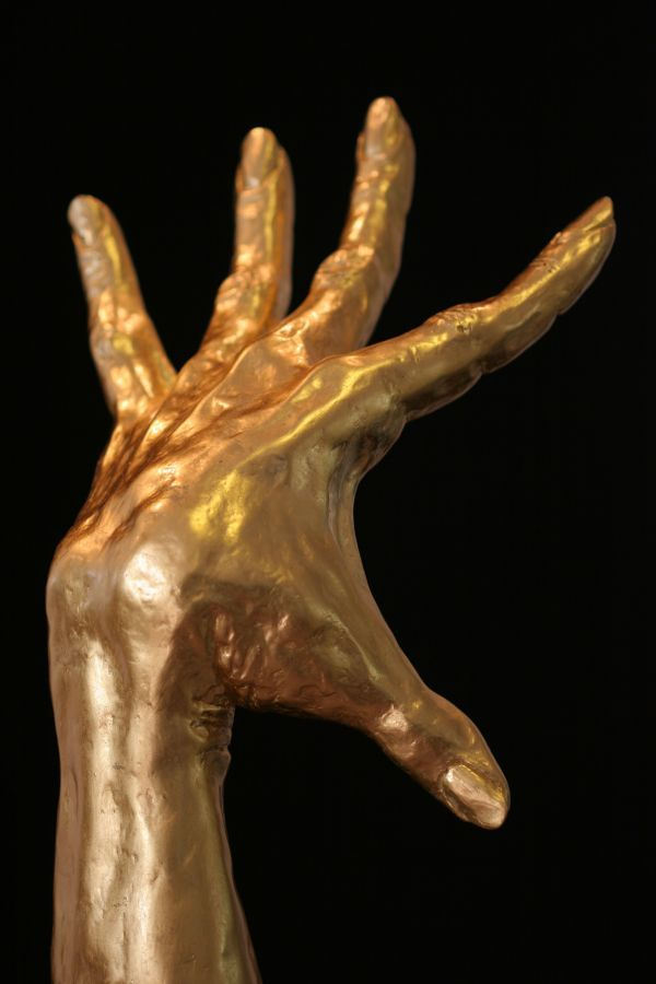 Synthetic & 24k gold Tabletop Desktop Small Indoor Statuettes Figurines sculpture by artist Rogier Ruys titled: 'FLAMENCO Gold HAND (Dancer`s Expressive Hand sculpture statue statuette)'