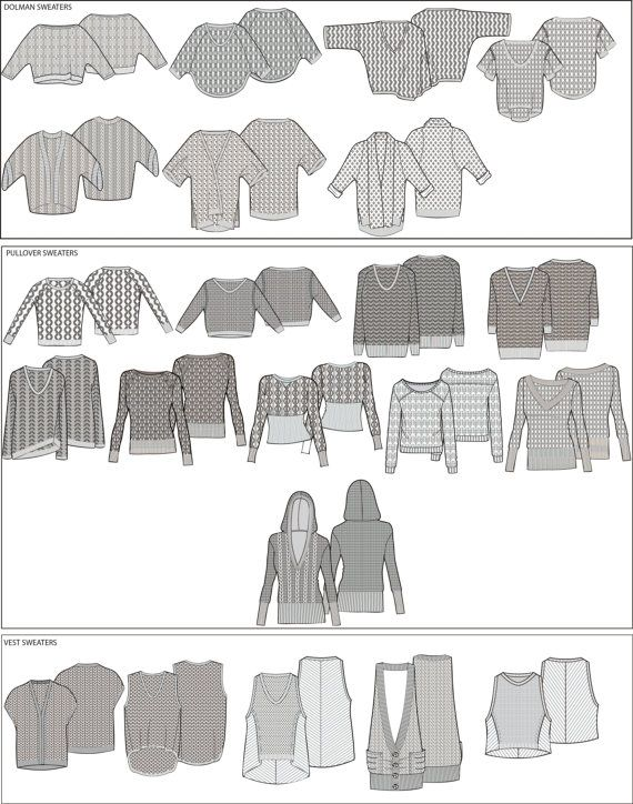 Adobe Illustrator Sweater Sketch Templates For Your by DigiPixie