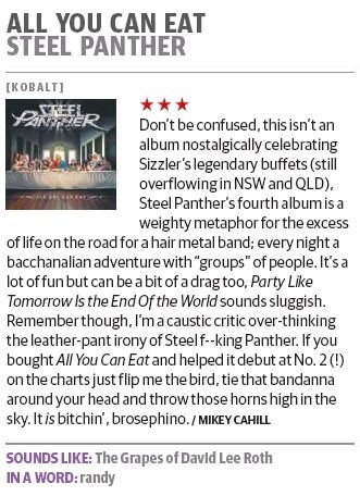 Steel Panther in the Herald Sun HIT and Courier Mail HIT Magazines.