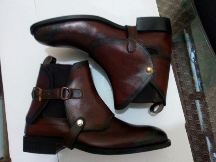 Handmade Men Biker Leather, Men Brown Chelsea Leather Boot, Mens Boot | eBay