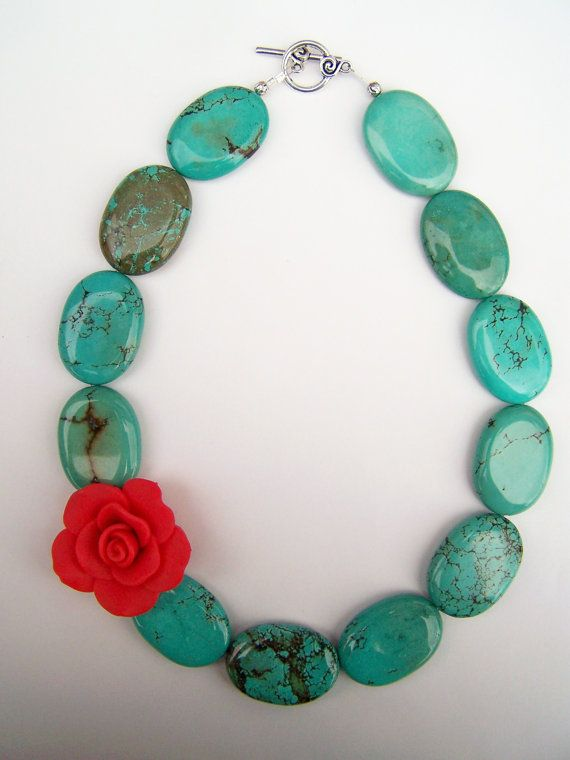 Turquoise Statement Necklace with Red Rose