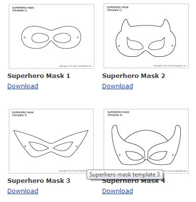 downloadable mask template. superhero-vintage-bright-dessert-table What about printing a bunch of mask eyes and mask lower faces & providing crayons, markers, glue, craft supplies for people to make their own masks for photo booth?! Fun wedding weekend activity?