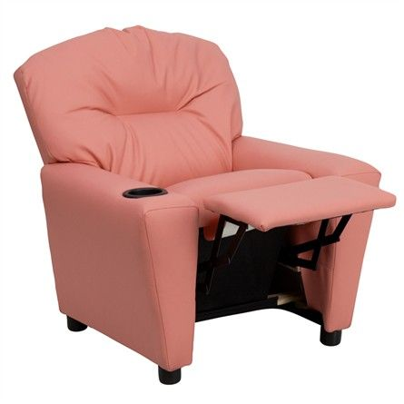 The Modern Kids' Pink Vinyl Recliner with Cup Holder will become your child's favorite perch!