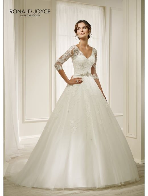 RONALD JOYCE 69211 HOLLY Detailed Ball Gown With 3/4 Length Sleeves