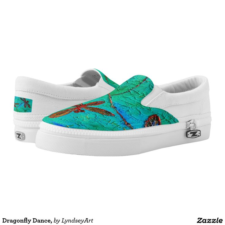 Dragonfly Dance Sneakers. Gorgeous red and blue dragonflies on a mottled turquoise green and blue background. From my original dragonfly artworks. LyndseyART