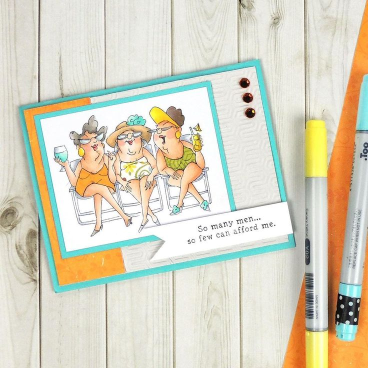 SC0653 Ai Beach Babes Art Impressions (Hampton Arts) sets available at Michael's. Handmade girlfriends card.