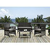 Patio Furniture Dining Set 4 PCS Garden Outdoor Indoor Furniture Set Rattan Wicker Brown Cushion Cover Seat By IDS Home