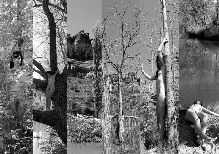 """Ana Lope de la Peña. """"Integrarse"""" Serie de seis fotografías ByN 29,7x42 cm. Mimetizar el cuerpo femenino con el paisaje, es decir, crear una serie de escenas donde el cuerpo, o un fragmento del mismo aparezca como parte integral de este, formando una unidad. El cuerpo es también, un paisaje de la naturaleza, cóncavo y convexo, un vínculo con el mundo natural, ya sea adoptando la forma de una piedra o en el suelo como un árbol, queriendo de esta manera fusionarse con el contorno del paisaje."""