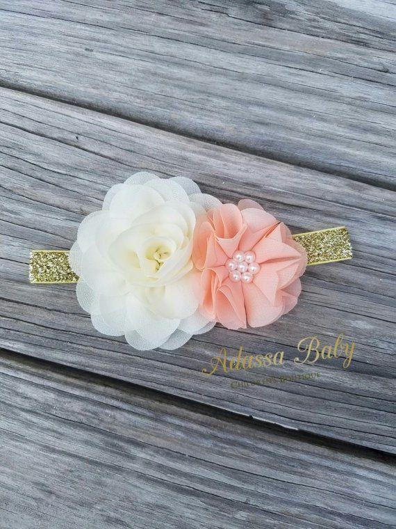 Peach Gold And Ivory Headband