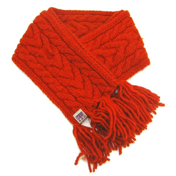 Echarpe orange, 100% pure laine, 18 x 180 cm.