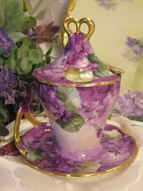 French African Purple Violets Tea Cup & Saucer Antique Limoges