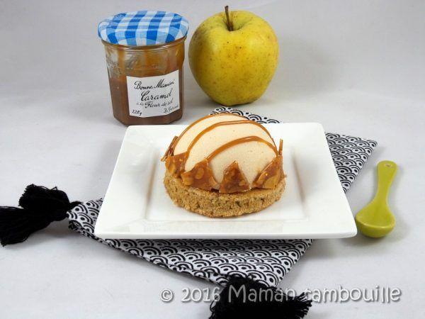 Entremet caramel, biscuit speculoos et insert de pommes