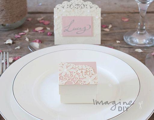 Laser cut wedding favour box. DIY wedding stationery supplies. Dusky pink and cream