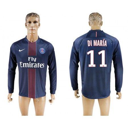 PSG 16-17 Angel #Di Maria 11 Hjemmebanetrøje Lange ærmer,245,14KR,shirtshopservice@gmail.com
