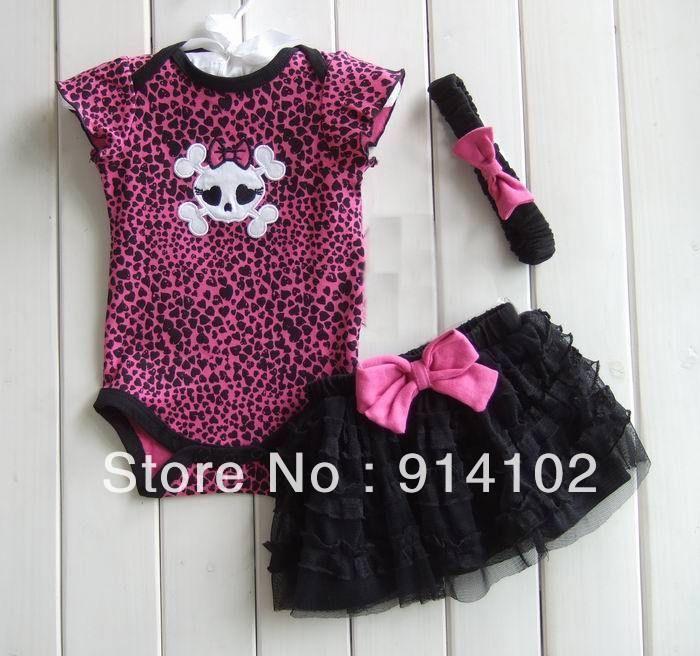 aliexpress.com - Hot sale girls 3 Piece Suits skull Romper +Tutu Skirt + HeadbandSize: 3M 6M 9M 12M 1