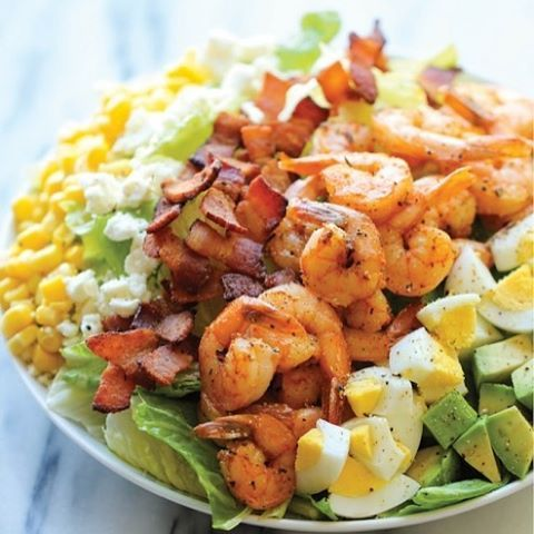 Shrimp Cobb Salad with Cilantro Lime Vinaigrette @Damn delicious @Damn delicious . Prep Time 10 minutes Cook Time 20 minutes Total Time 30 minutes Yield 2 servings A light, filling salad loaded with roasted shrimp, bacon bits, and avocado in a tangy, refreshing vinaigrette! Ingredients 1 pound medium shrimp, peeled and deveined 2 tablespoons olive oil, divided 1 tablespoon Emeril's Essence Creole Seasoning 4 slices bacon, diced 2 large eggs 5 cups chopped romaine lettuce 1 avocado, halved…