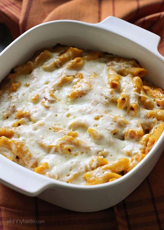 Cheesy Baked Pumpkin Pasta –made with bacon, shallots, rosemary and lots of cheese!