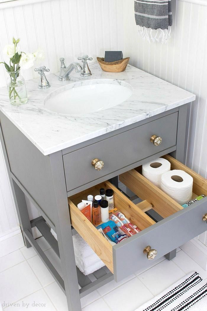 Replacing A Pedestal Sink With A Small Vanity Provides So Much