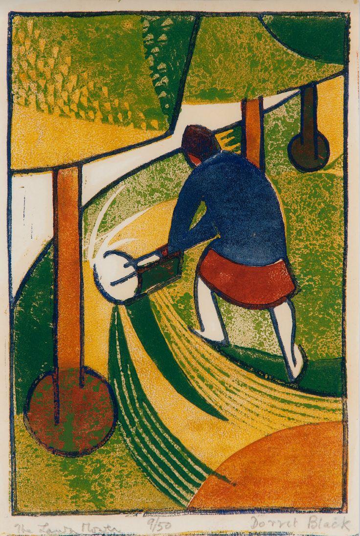 Dorrit Black: The Lawn Mower, ca. 1932 - colour linocut on paper / Art Gallery of South Australia