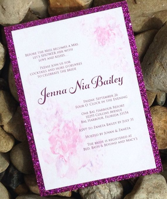 Purple Watercolor Flower Bridal Shower by SoireeCustomPaperCo