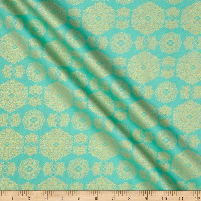 Asian Fanfare Modern Medallion Mint Fabric
