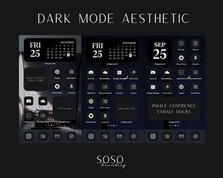 191 black aesthetic ios 14 app icons mode ios14