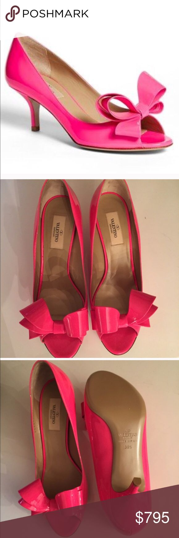 Valentino Bow Pump Brand new in box. My favorite shoes! 🎀They have been sitting a box for over a year now. Beautiful bright pink. Purchased from Nordstrom's for full price Valentino Shoes Heels