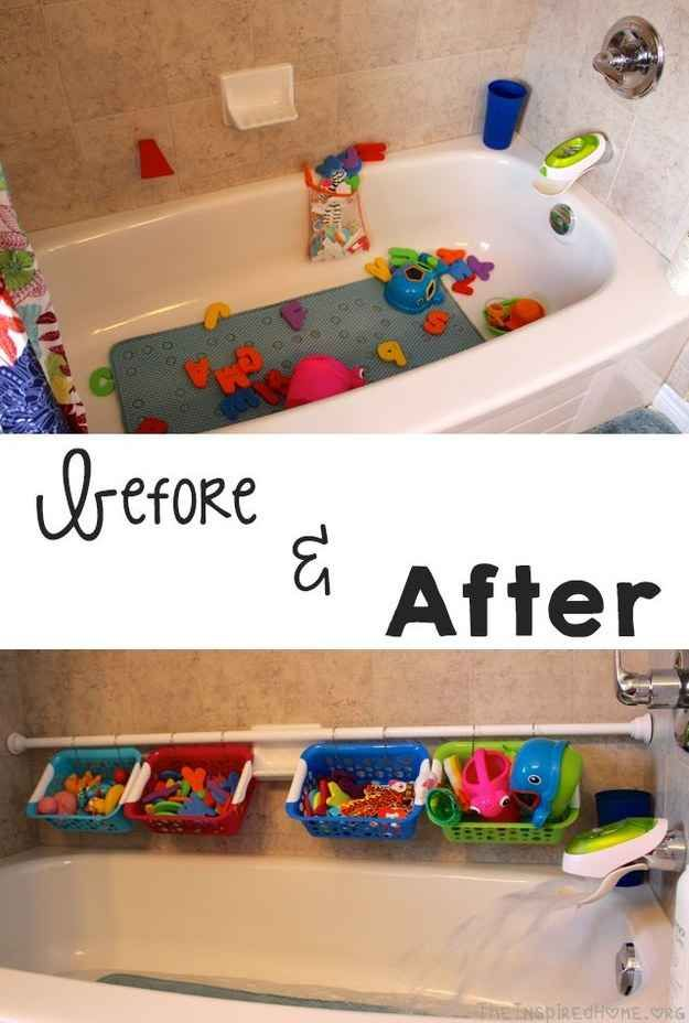Use a shower rod and dollar store baskets to keep bath toys organized.