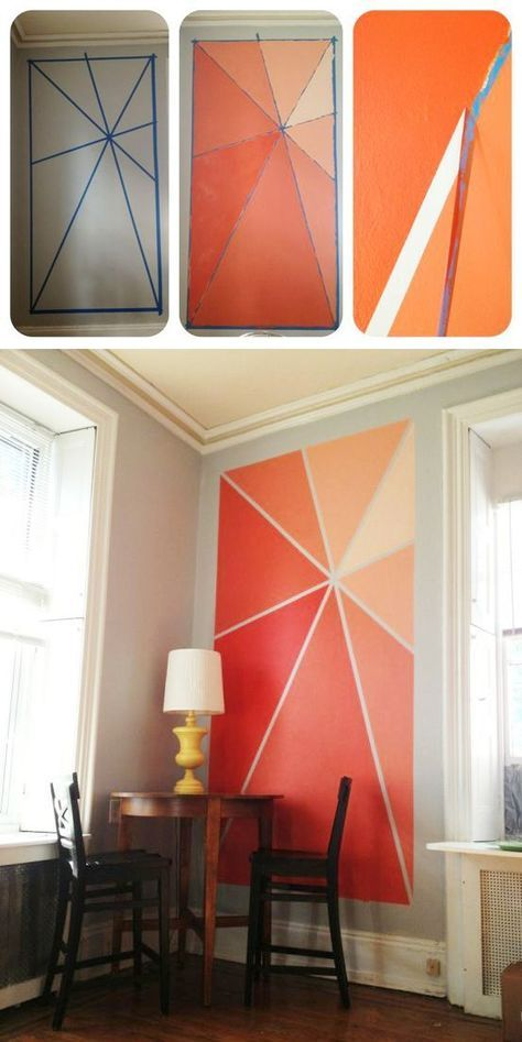 Idee für bunte Wandgestaltung - ein selbstgemachtes Wandbild für etwas Farbe im Raum. Einfach abkleben und in Ombre Farbschattierungen anstreichen.