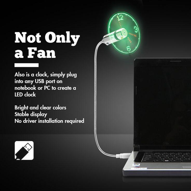 Digoo DG-TFB11 Mini Multifunctional DIY USB LED RGB Programmable Fan & Real Time LED Clock Cooling Fan Colorful Display With Flexible Gooseneck