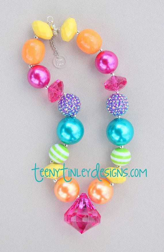 Pink Rainbow Chunky Beaded Necklace by TeenyTinleyDesigns on Etsy