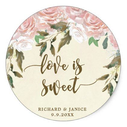 pink floral love is sweet favor sticker wedding - floral bridal shower gifts wedding bride party