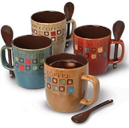 Dual Tone Coffee Mugs Set With Spoons Stoneware 14 oz 8 Pcs Set 4 Cups 4 Spoons #GibsonHome