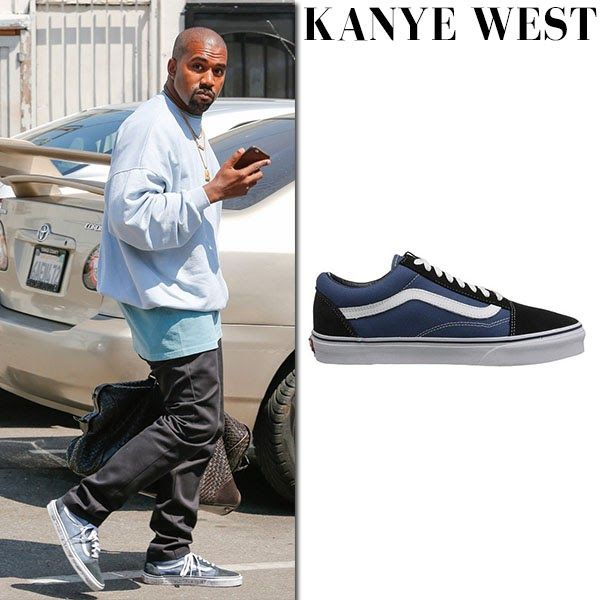 Kanye West in navy canvas Vans sneakers ~ Steal His Outfit